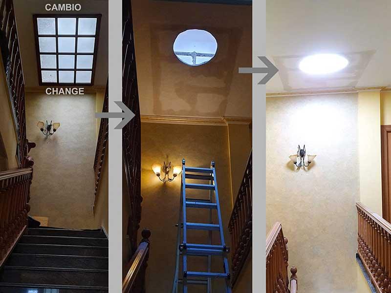 Tubo de luz escadas